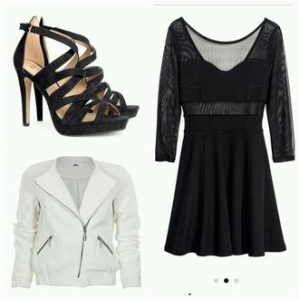 shoes noir talons dress noire belle coat blanche cuir