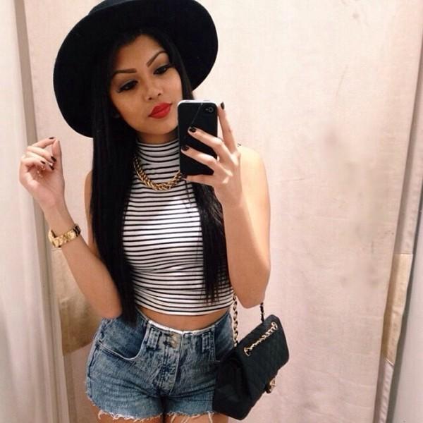 shirt turtleneck black white stripes instagram tumblr fvkin hat hat sun hat crop tops shorts bag