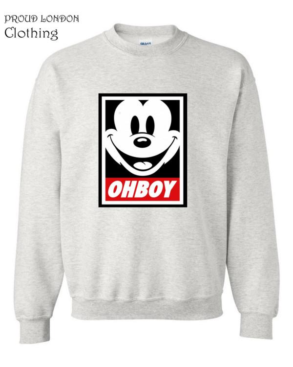 sweater ohboy sweatshirt mickey club disobey obey girl boy london guys mickey mouse crewneck crewneck sweater crewneck winter sweater