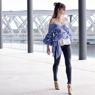 blouse ruched sleeve wrap top ribbon bow