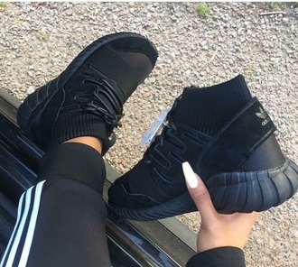 shoes adidas sneakers black high top sneakers black sneakers adidas shoes socks all black everything tubulars adidas tubulars adidas tracksuit nails adidas tracksuit bottom acrylic nails stiletto nails high top sock adidas tubular triple black women workout running shoes addias shoes