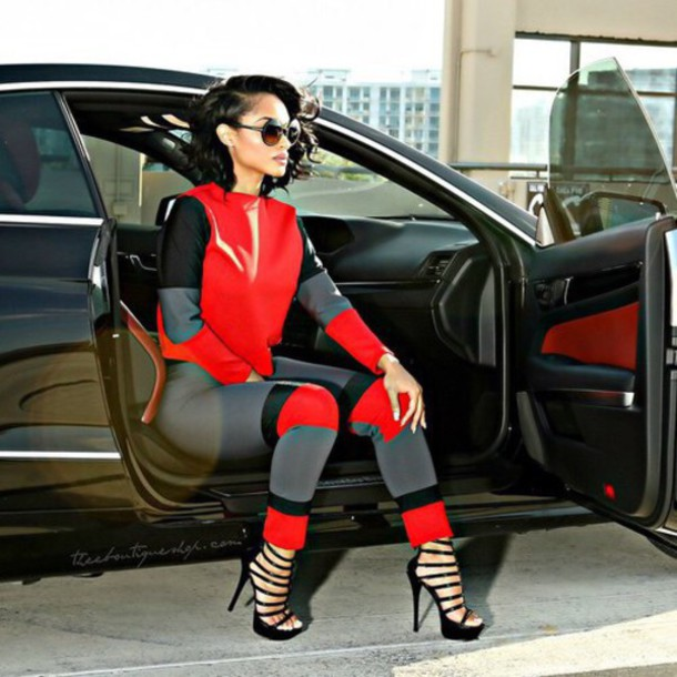 jumpsuit leggings style 80s style red and grey black and red sweatsuit red black grey faux leather crop tops pants black red and gray