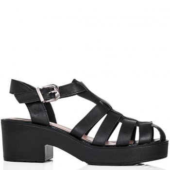 Buy OCEAN Chunky Sole Platform Gladiator Sandal Shoes Black Leather Style Online