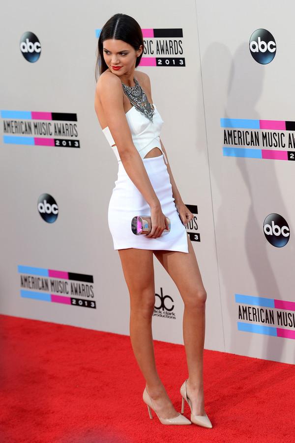 dress bodycon dress cut-out dress white dress bandage dress kendall jenner the kardashian