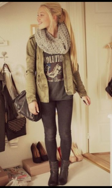 jeans jacket t-shirt scarf shoes