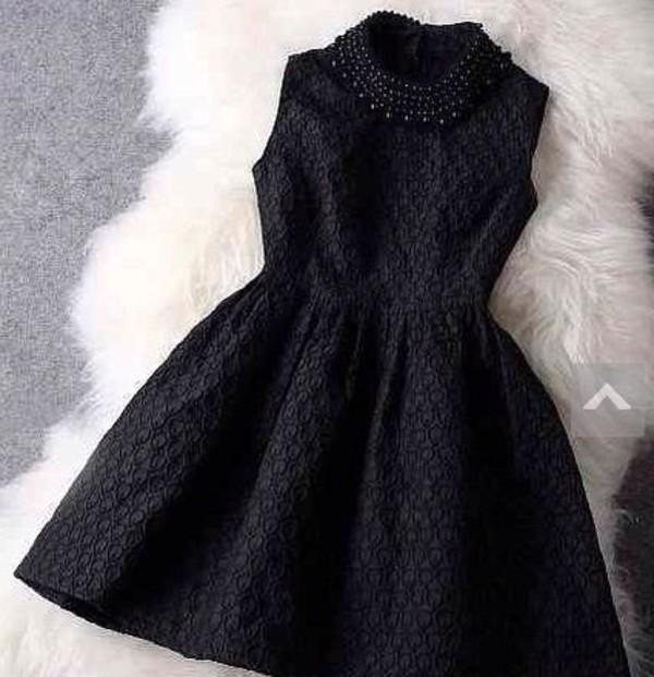 dress black beautiful pearl jewelry