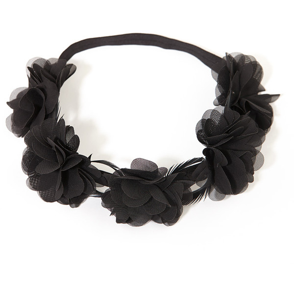Headmistress Floral Crown in Black - Polyvore