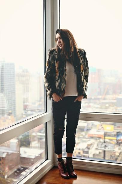 color me nana blogger tank top cropped pants lace-up shoes faux fur jacket jacket jeans shoes jewels