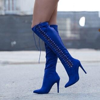shoes blue heels boots knee high royal blue royal cobalt navy lace up lace gojane