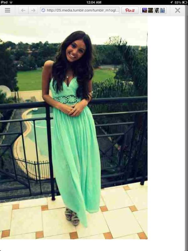 dress sea foam green prom dress prom maxi dress teal dress cut-out dress