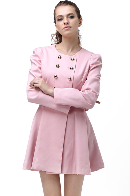 ROMWE   Double-breasted Skirt Hem Design Pink Trench-coat, The Latest Street Fashion