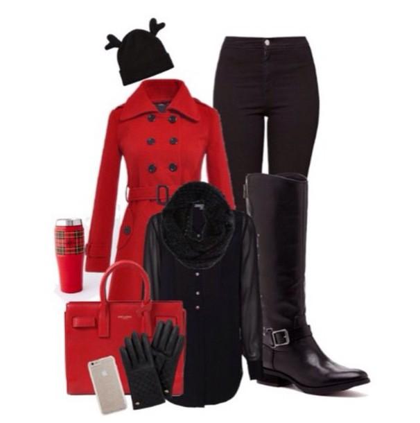 coat red coat bag gloves jacket leggings shoes