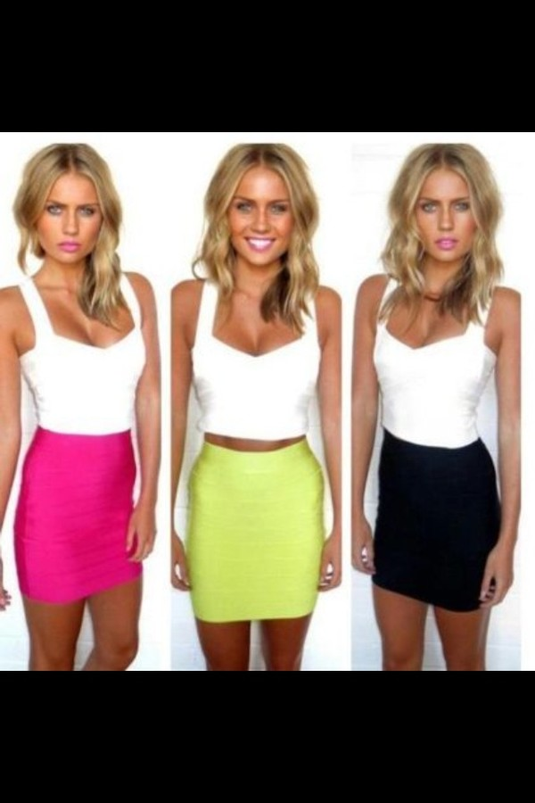 skirt pink lime black bandage skirt tank top