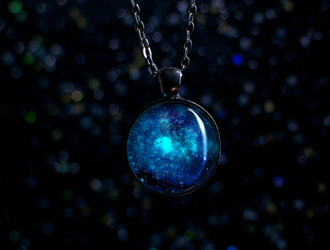 jewels glow in the dark glow necklace necklace fashion tumblr galaxy print space nebula