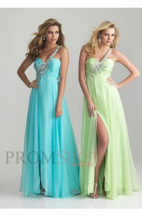 A-line/Princess One-shoulder Sleeveless Empire Prom Evening Gowns - Promshop.com.au