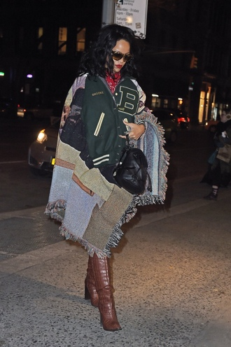 rihanna leather backpack leather watch brown leather boots
