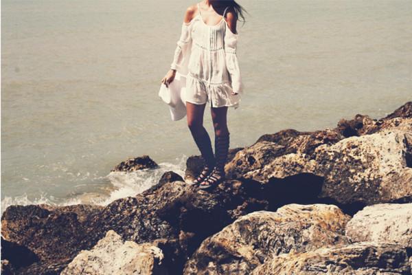 dress white dress cold shoulder summer boho beach cold shoulder dress boho dress open shoulder tunic dress light blue