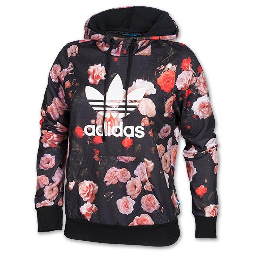 Women's adidas Trefoil Allover Floral Hoodie Black Floral | Kicks Store Ltd
