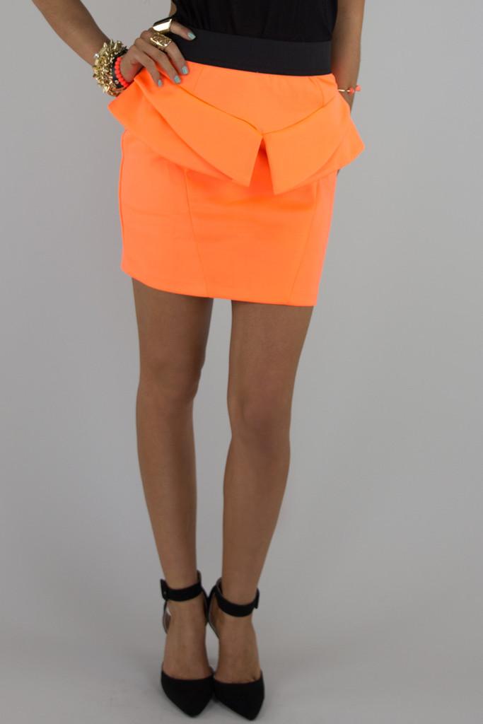 NEON PEPLUM SKIRT - Orange   Haute & Rebellious