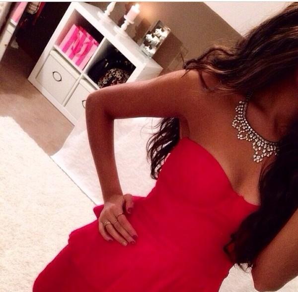 dress red red dress necklace cute dress cute pretty jewels
