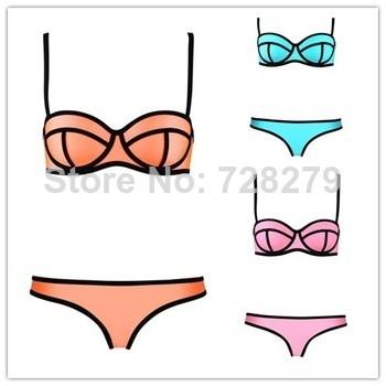 2014 Sexy Women's Fashion Swimwears  MILLY Neoprene Bikinis Woman Neoprene Swimsuit Set Push Up Bikini Set S XL FREE SHIPPING-in Bikinis Set from Apparel & Accessories on Aliexpress.com