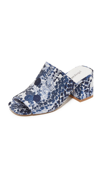 mules floral white blue shoes