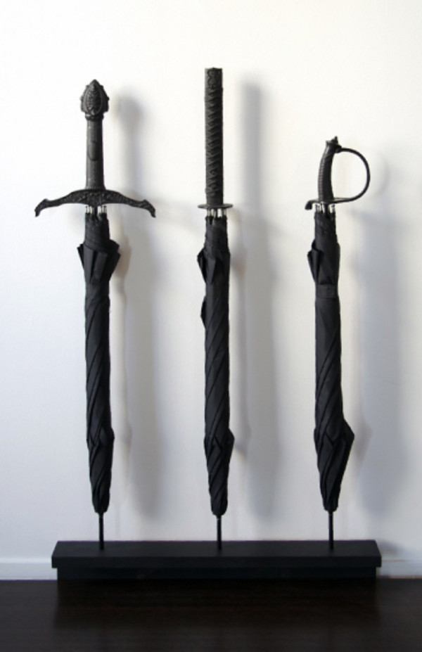 bag umbrella black sword long rain weather bad weather