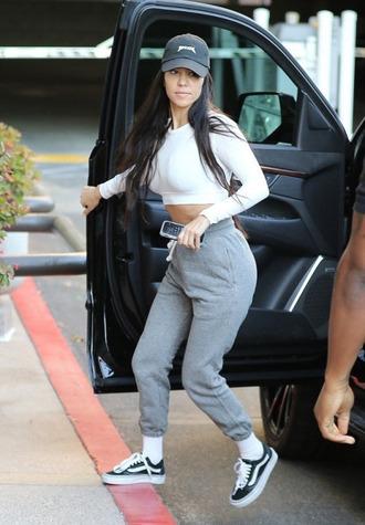 shoes sneakers cropped sweater kourtney kardashian sweatpants crop tops cap kardashians