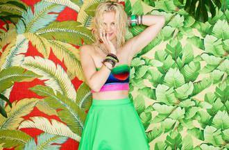 skirt neon nastygal nastygal.com shopnastygal.com neon skirt neons neon green skirt print tropical summer