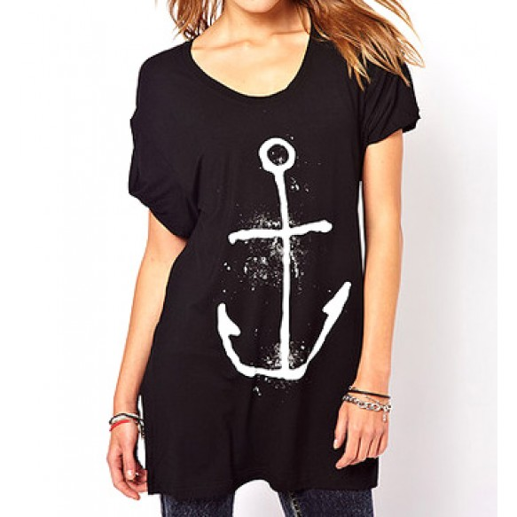 Oversized Tee With Anchor Print Front at Style Moi