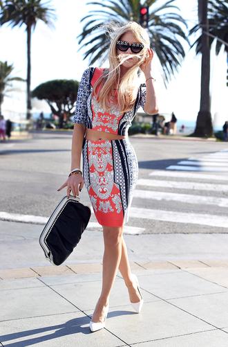 cheyenne meets chanel t-shirt skirt sunglasses shoes bag jewels shirt two-piece