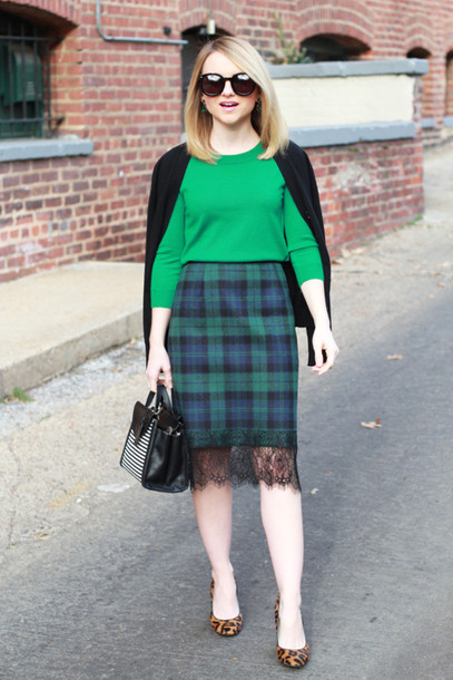 poor little it girl blogger sweater green plaid skirt leopard print