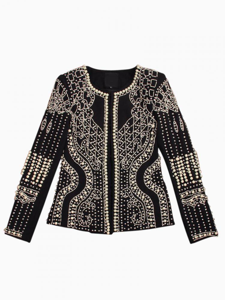 Beaded Textured Blazer Coat   Choies