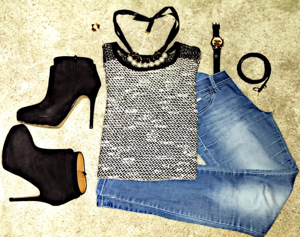 sweater black white high heels zara watch jeans urban outfitters jewels accessories cute sweaters trendy fashion outfit clubwear belt shoes