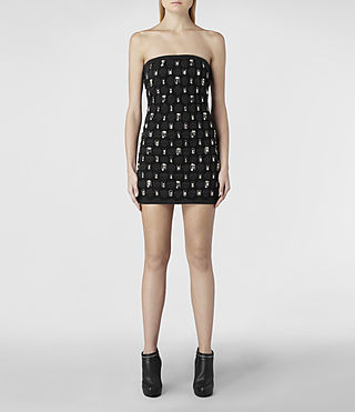 Womens Crystal Mesh Dress (Black) | ALLSAINTS.com