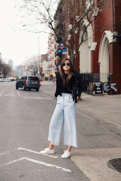 we wore what blogger jacket culottes white sneakers denim culottes blue pants palazzo pants sneakers low top sneakers fall outfits black top black leather jacket leather jacket black jacket aviator sunglasses