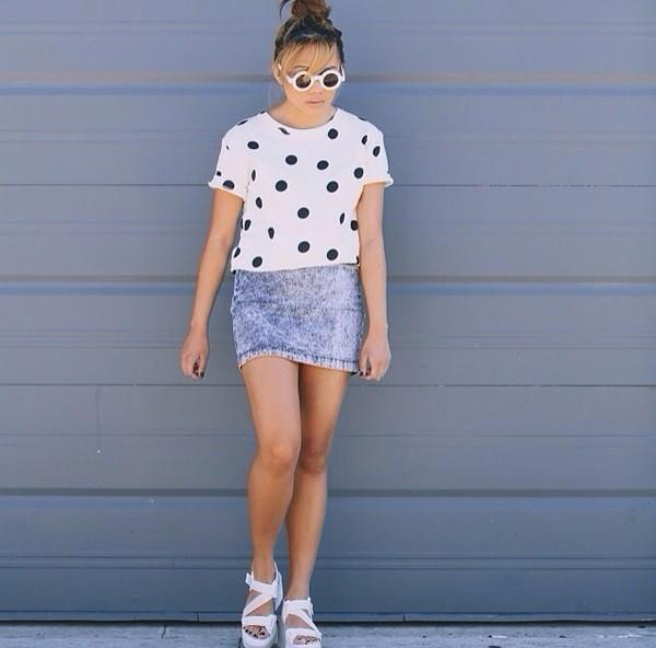 t-shirt polka dots cute cuteshirts black white