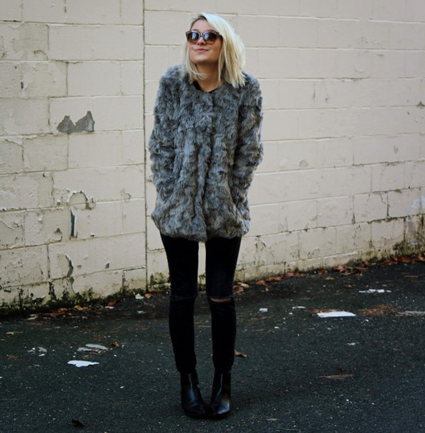 platinum and penniless blogger sunglasses fuzzy coat chelsea boots grey coat black jeans jeans ripped jeans jacket shoes jewels