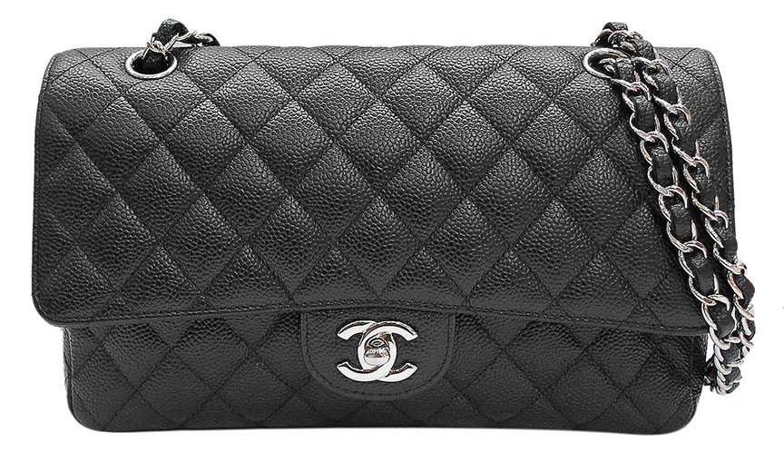 Chanel Black Quilted Caviar Leather Classic 2.55 Double Flap Bag | Portero Luxury