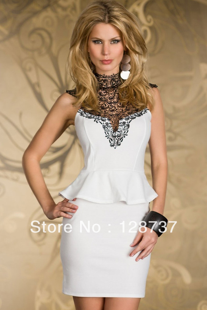 Free Shipping European Vogue Rare Embroidered High Neck Peplum Lace Dress Open Back Women 2014 Summer White, black Size: M, L-in Dresses from Apparel & Accessories on Aliexpress.com
