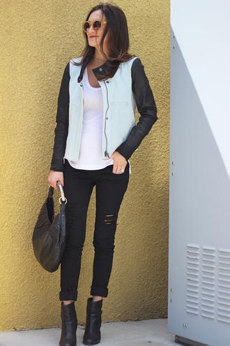 frankie hearts fashion jacket jeans shirt shoes bag sunglasses