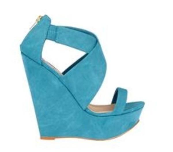 shoes wedges blue high heels