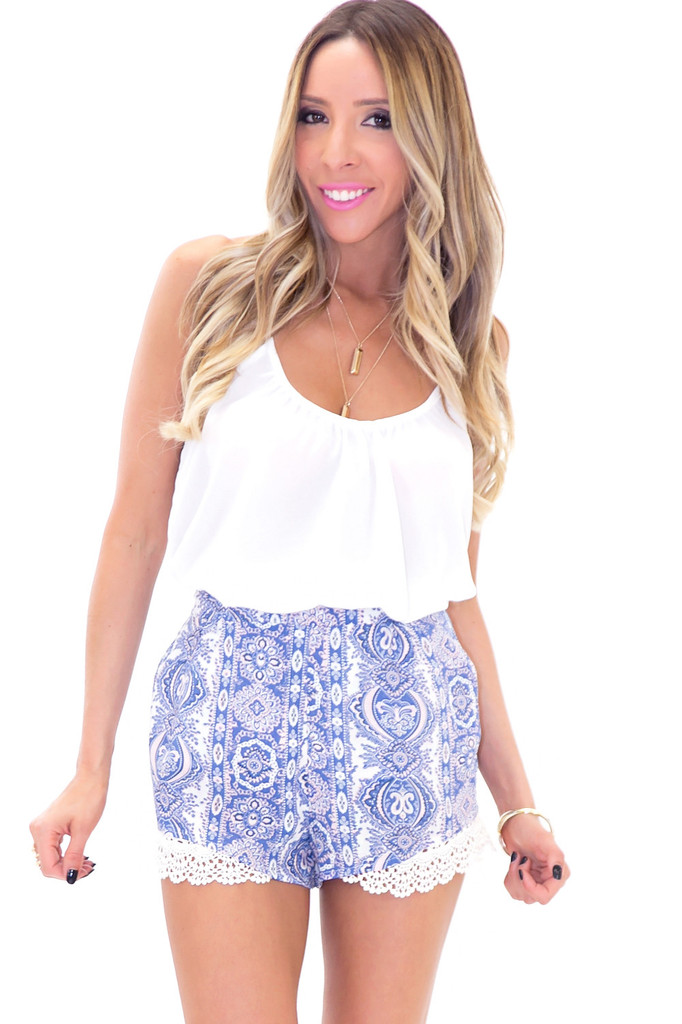 LENI PAISLEY CROCHET TRIM SHORT | Haute & Rebellious