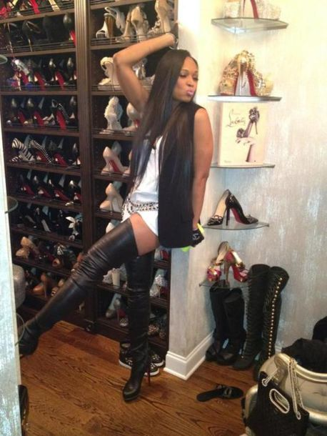 shoes boots louboutin high heels knee high boots