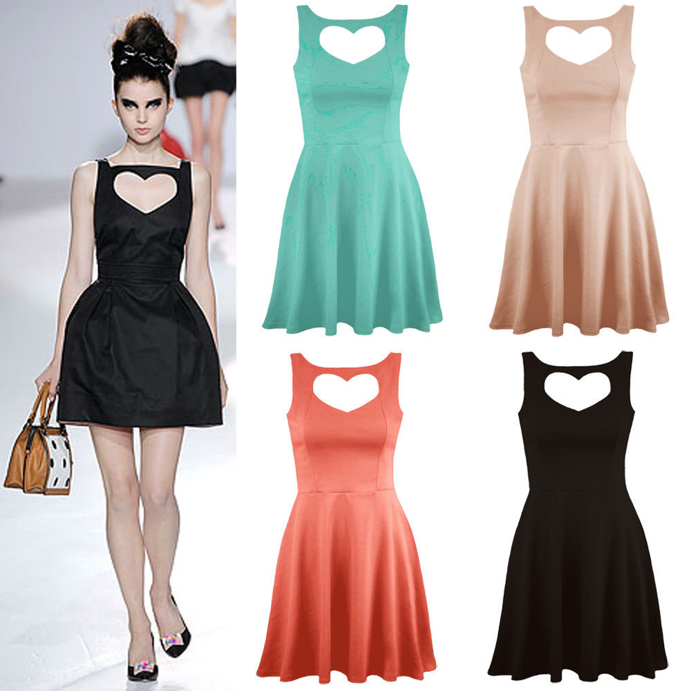 Ladies Heart Cut Out Front Skater Dress Sexy Mini Party Womens Top UK Size 8-14 | eBay