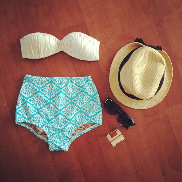 swimwear bandeau bikini creme jewels