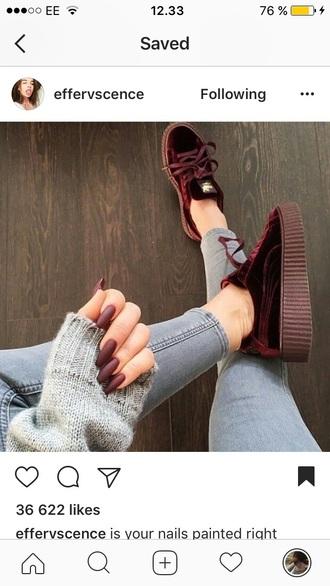 shoes puma red sneakers cute burgendy