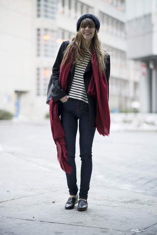 just another me sweater coat jeans scarf shoes hat jewels