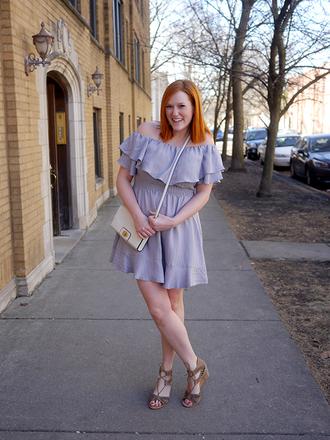 kristinadoestheinternets blogger dress bag shoes jewels off the shoulder dress crossbody bag sandals blue dress