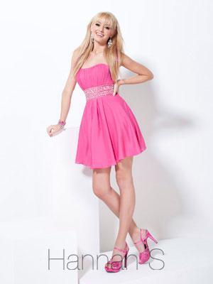 Cheap Short Prom Dresses - 2012 Simple Empire Strapless Mini-length Taffeta Beading Pink Short Prom Dress Style 27733 - Prom & Quinceanera Dress